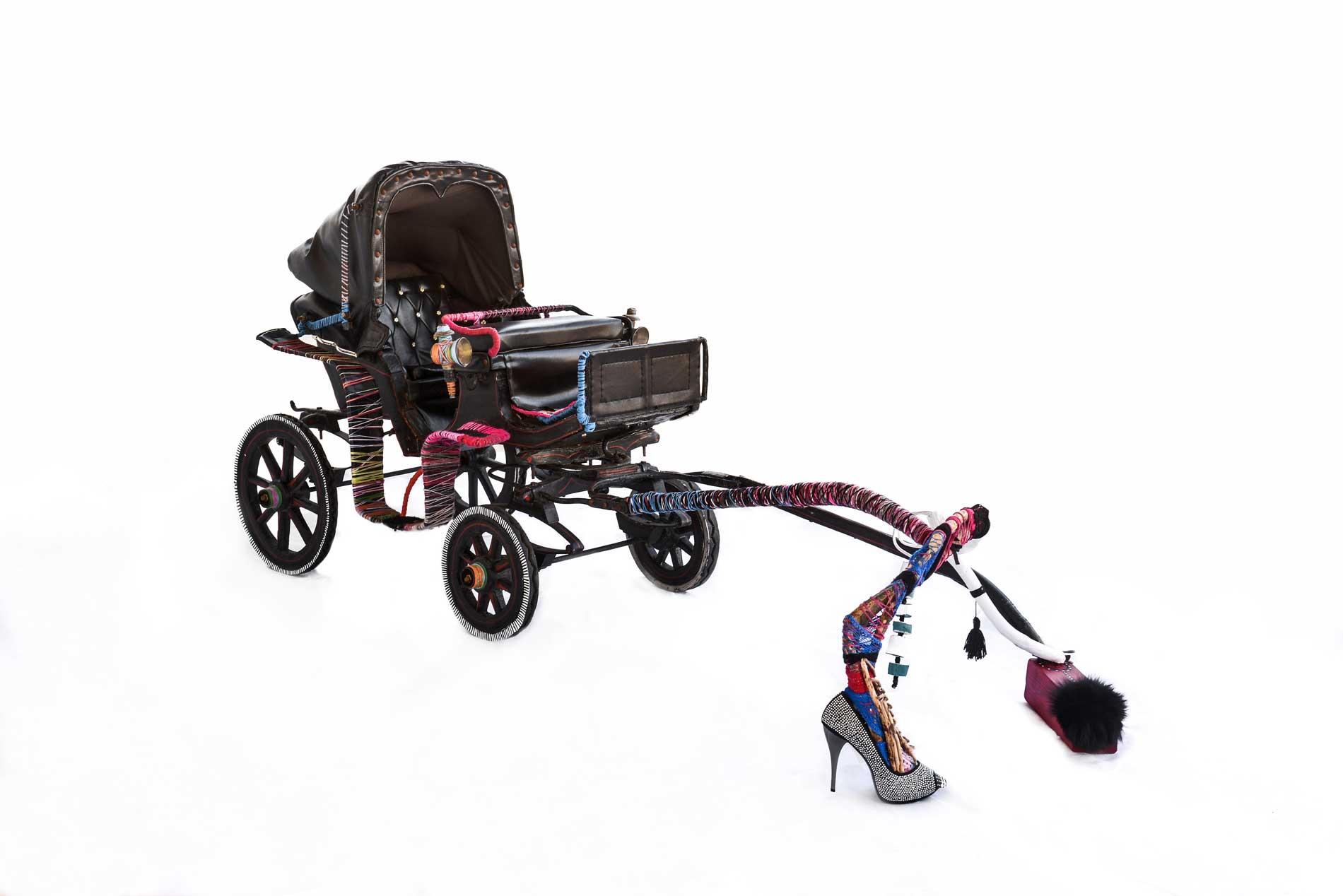 Ena - 110x70x210 cm - leather pony carriage, wood, stripper's shoe, metal, rabbit fur